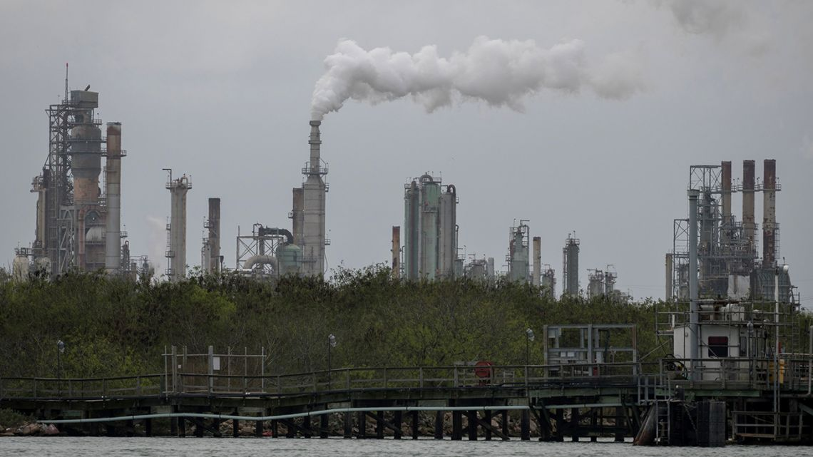 In this file photo a refinery near the Corpus Christi Ship Channel is seen on March 11, 2019, in Corpus Christi, Texas.