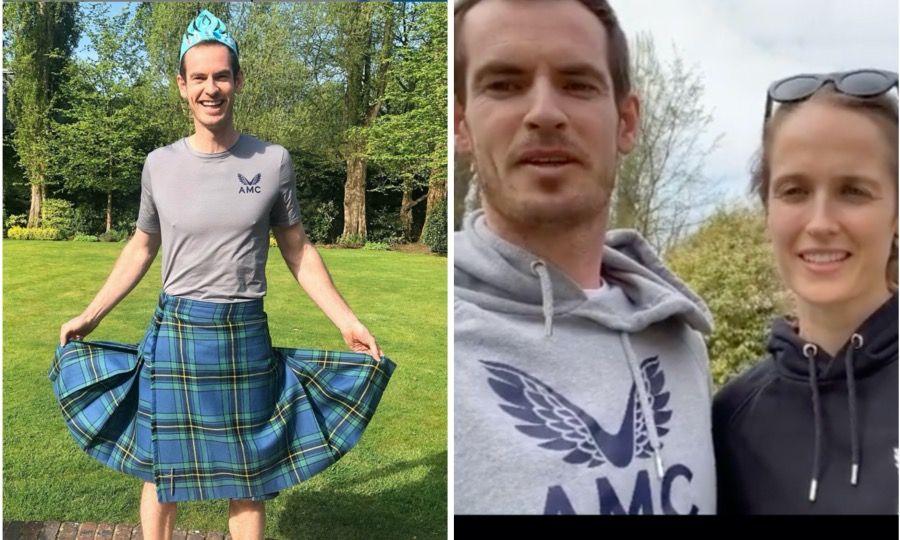 Andy Murray dice que es un kilt, pero para sus hijas Sofía y Edie, es una falda. Y asi las entretuvo en cuarentena. Su mujer Kim, lo fotografió.