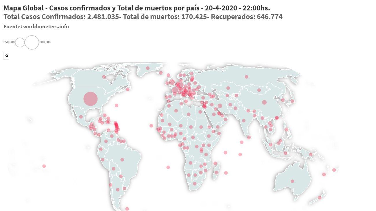 El avance del coronavirus en el mundo al 20 de abril de 2020.