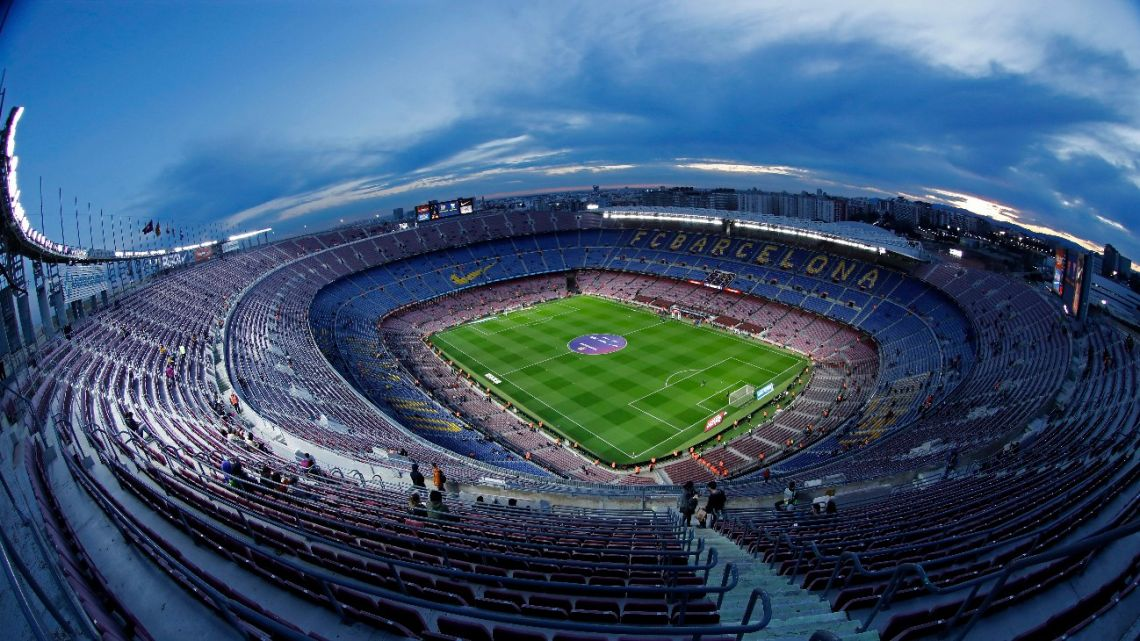 In this Thursday, January 30, 2020 a general view of the Camp Nou stadium prior of a Spanish Copa del Rey soccer match between Barcelona and Leganes at the Camp Nou stadium in Barcelona, Spain.