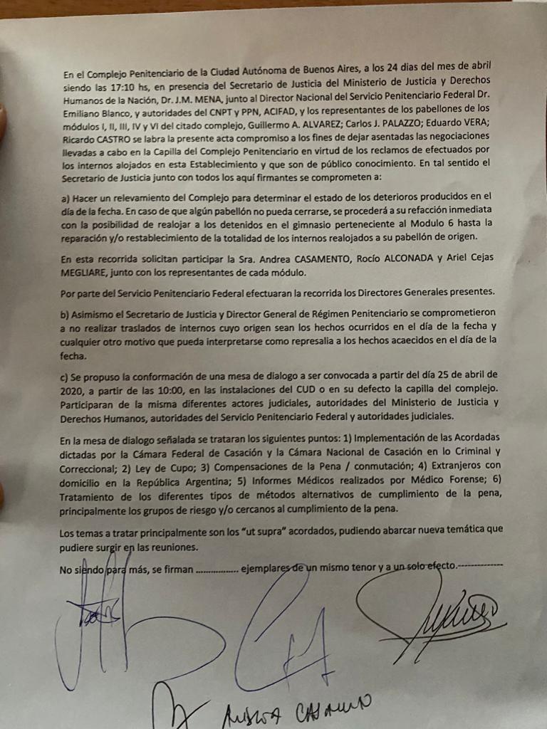 Acta acuerdo sobre el motín en el penal de Devoto.