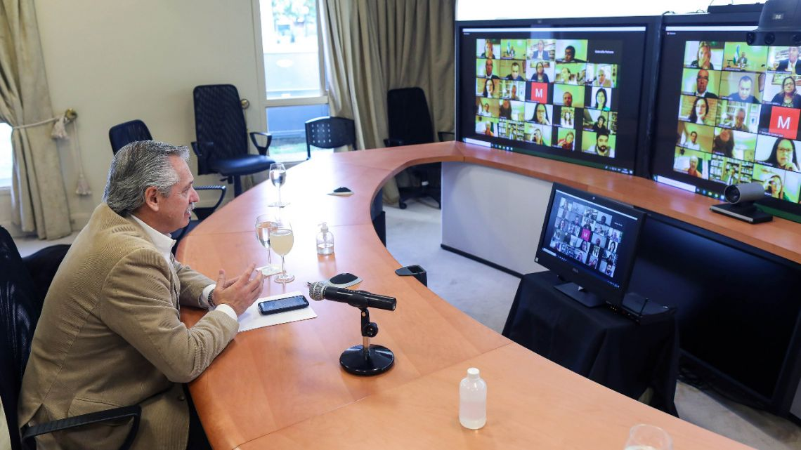 President Alberto Fernandez held a video conference on Friday from the Olivos residence with members of the Grupo de Puebla.
