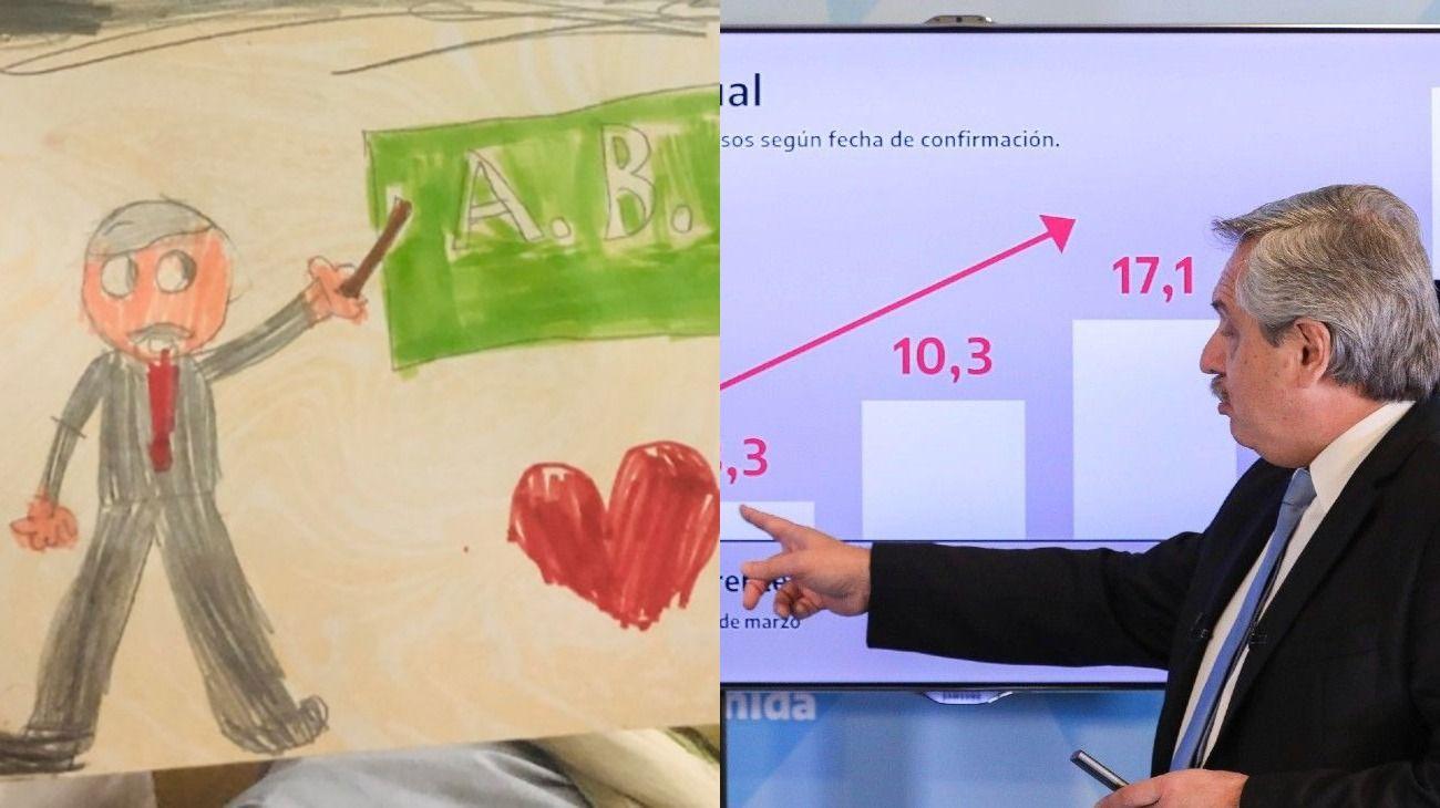 Tras el anuncio, Alberto Fernández respondió mensajes y compartió dibujos hechos por chicos
