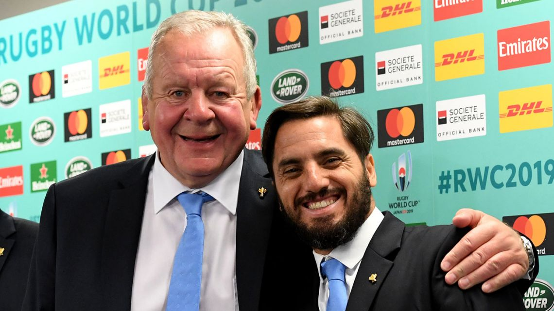 In this file photograph taken on May 10, 2017, World Rugby chairman Bill Beaumont (left) and deputy chairman Agustín Pichot pose during a press conference following the Rugby World Cup Japan 2019 pool draw at Kyoto state guesthouse in Kyoto.