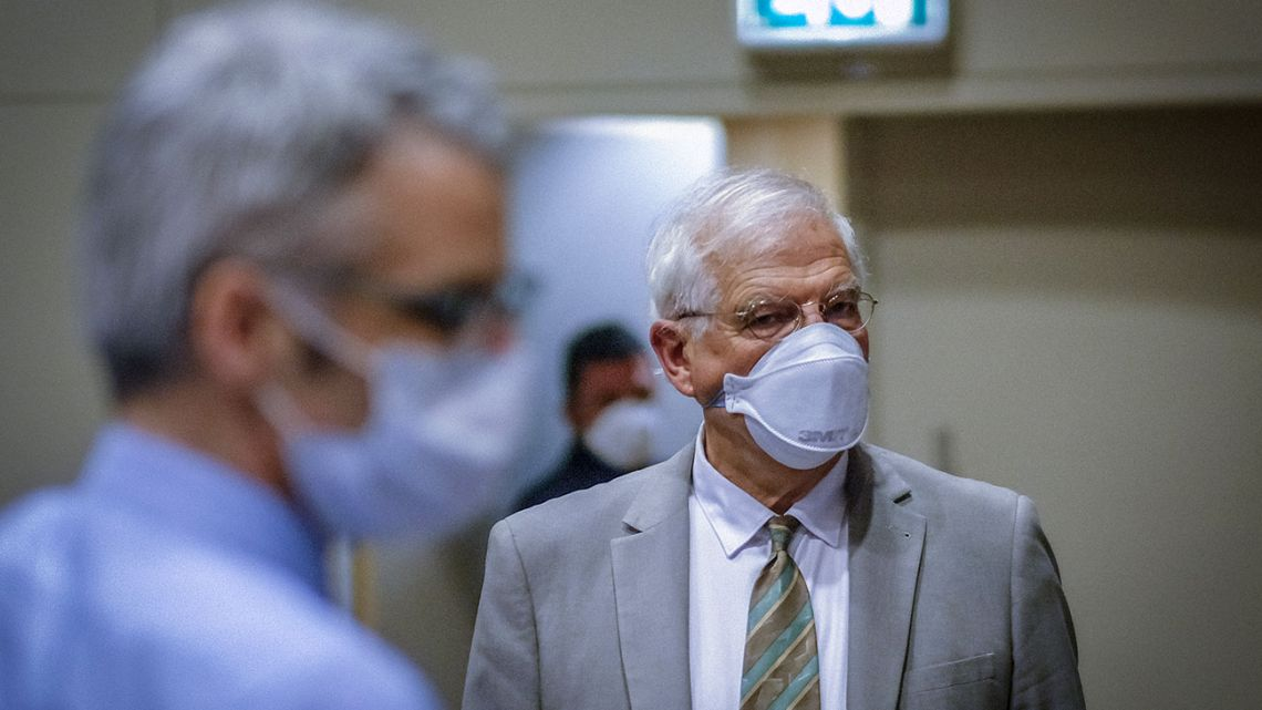 European High Representative of the Union for Foreign Affairs, Josep Borrell, wearing a face mask, attends a video conference with Europeans Foreign Ministers in Brussels, Belgium, on April 22, 2020.