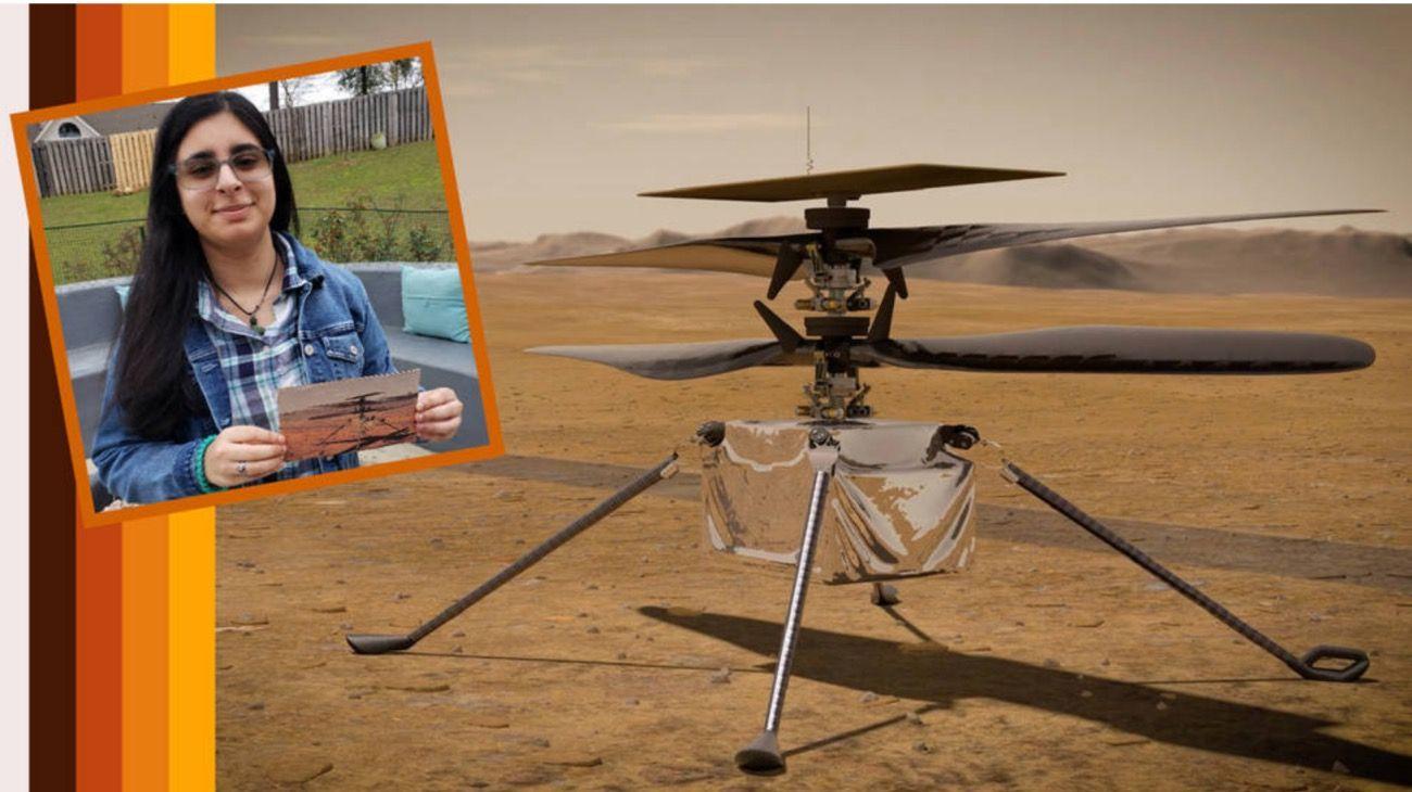"""Vanesa Rupaani, fue la estudiante norteamericana que bautizó """"Ingenuity"""" al helicóptero que la NASA mandará a Marte en 2021."""