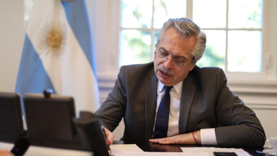 Alberto Fernández en la residencia presidencial de Olivos