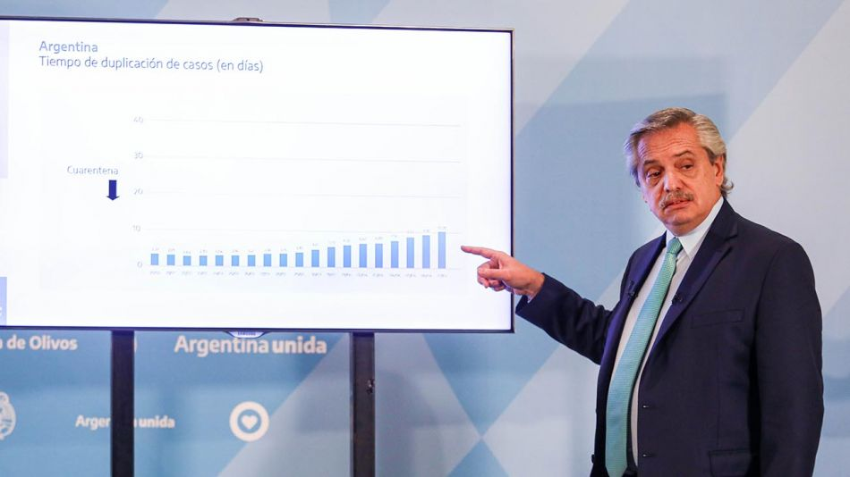 Alberto Fernández en una de sus presentaciones. 20200430