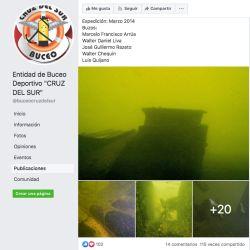 La Entidad de Buceo Deportivo Cruz del Sur (www.buceocruzdelsur.com.ar) había descubierto el barco en marzo de 2014