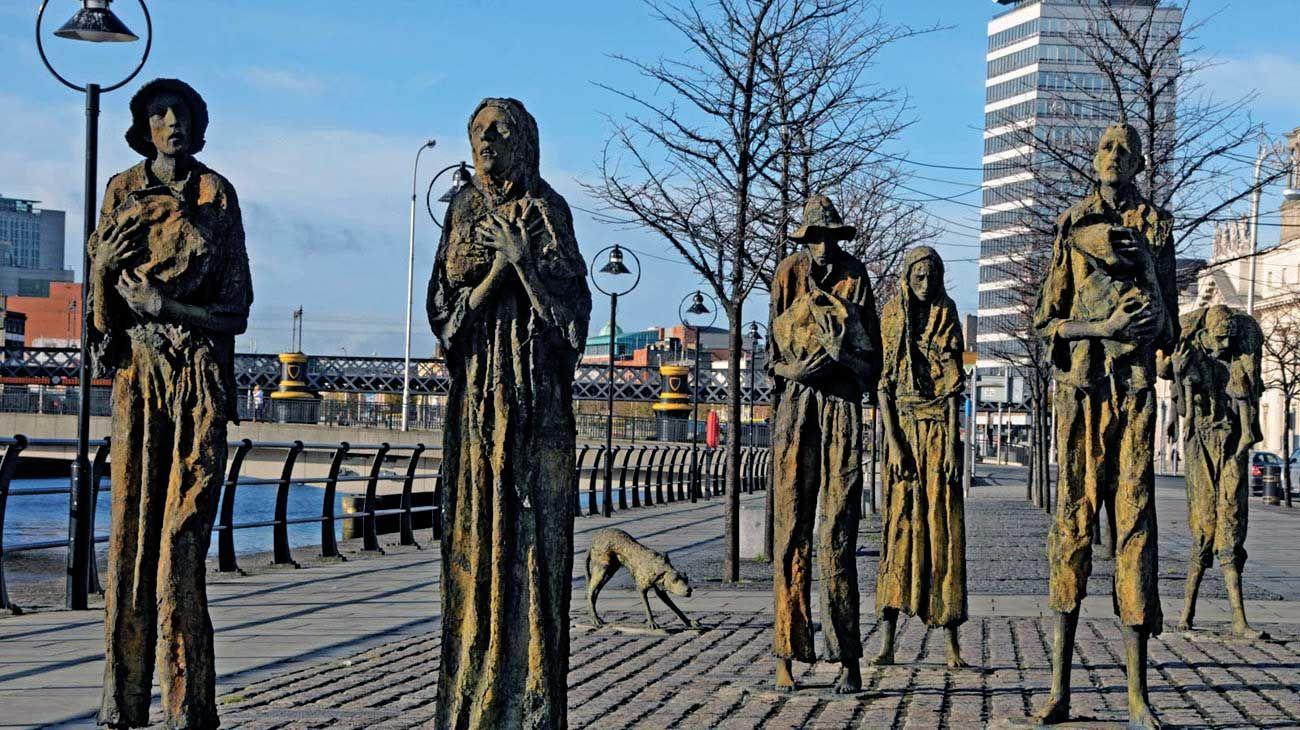 Dublin. Homenaje a las víctimas de la hambruna provocada por la crisis de la papa, a mediados del siglo XIX. Un hecho que cambió al mundo, como lo hará la pandemia.