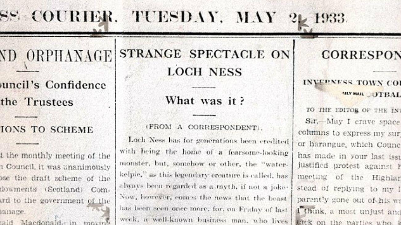 """El 2 de mayo de 1933, el diario escocés The inverness Courier saltaría a la fama mundial al publicar un detallado artículo en el que habló de un """"una criatura"""" y un """"extraño espectáculo en el lago Ness"""", unos 270 km de Edimburgo."""
