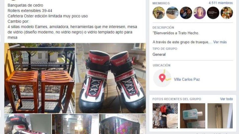 TRATO HECHO. En el grupo de trueque se ven infinidades de productos que los vecinos de Carlos Paz y alrededores buscan intercambiar.