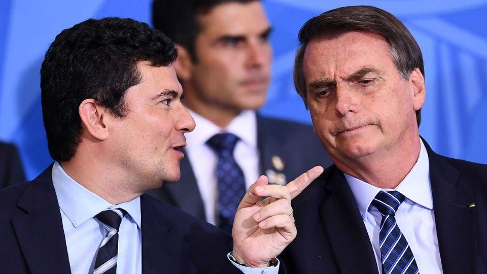 Sergio Moro y el presidente Jair Bolsonaro.