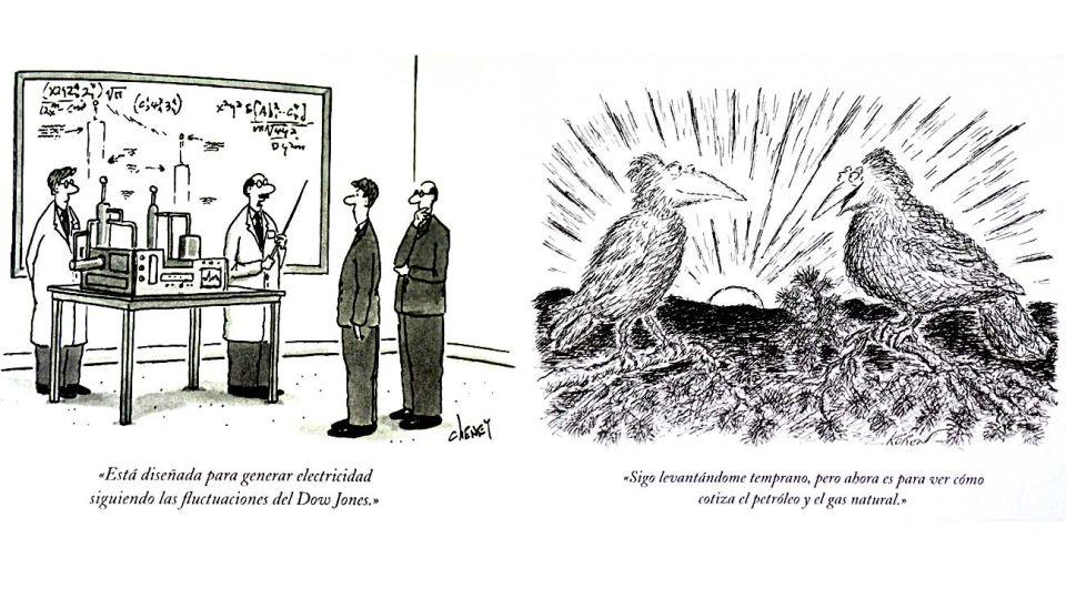 El carácter de Wall Street, ilustrado. Dos viñetas históricas del New Yorker reflejan la volatilidad y los hábitos en finanzas.