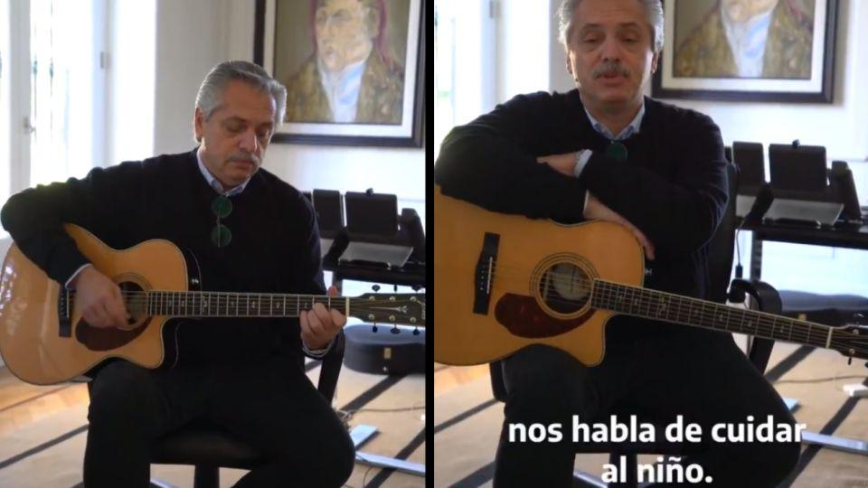 El presidente Alberto Fernández agarró su guitarra para subir a Twitter un video dirigido a los adolescentes