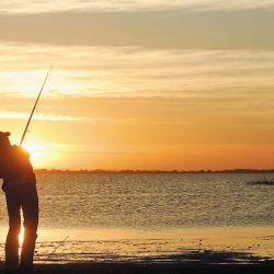 Imágen tan pintoresca como repetida. El pescador lanzando en busca de su presa.
