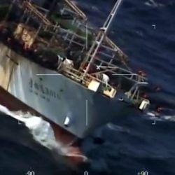 Buque pesquero Hua Li sorprendido en el Mar Argentino.