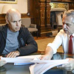 Horacio Rodríguez Larreta reunido con el presidente Alberto Fernández.