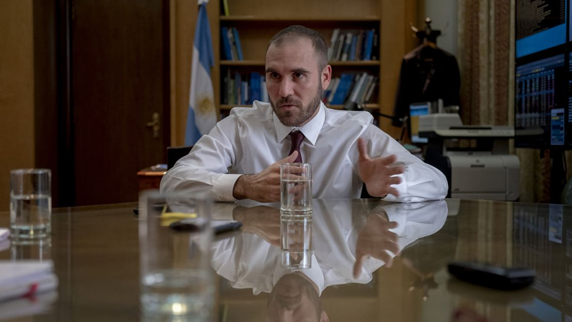 Economy Minister Martín Guzmán speaks during an interview in Buenos Aires on Wednesday, May 6, 2020.
