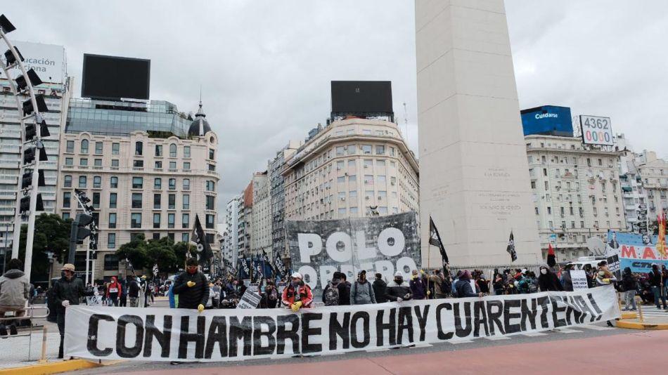Manifestación del Polo Obrero en el Obelisco 20200506