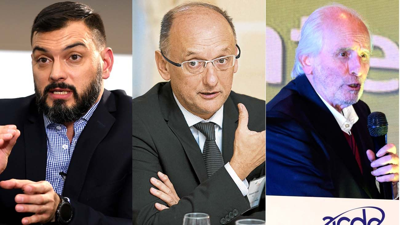 Emmanuel Alvarez Agis (PxQ), Fernando Navajas  (FIEL) y Pablo Gerchunoff (UTDT), en sintonía con Guzmán.