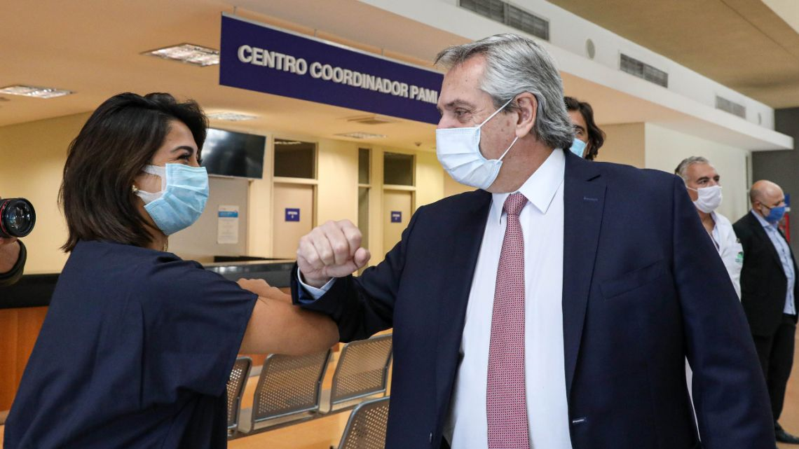 President Alberto Fernández led the launch of the Bicentennial High Complexity Hospital in the Buenos Aires municipality of Esteban Echeverria on April 30, 2020.