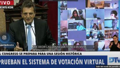 Perlitas y retos de Massa en la prueba del Congreso virtual