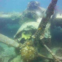 Un avión de hélice con aspas faltantes se estrelló en el fondo del mar.