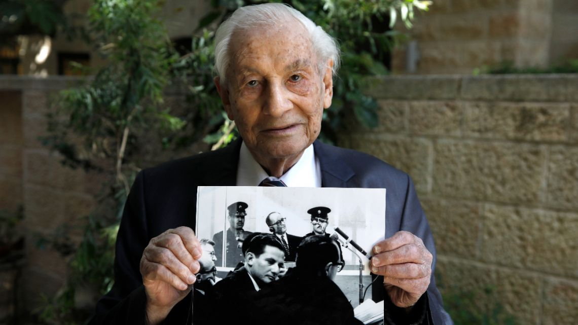 Gabriel Bach, 93, a former judge of the Supreme Court of Israel and a former deputy prosecutor in during the trial of top Nazi German official Adolf Eichmann, poses for a picture, at the yard of his home in Jerusalem on May 3, 2020.