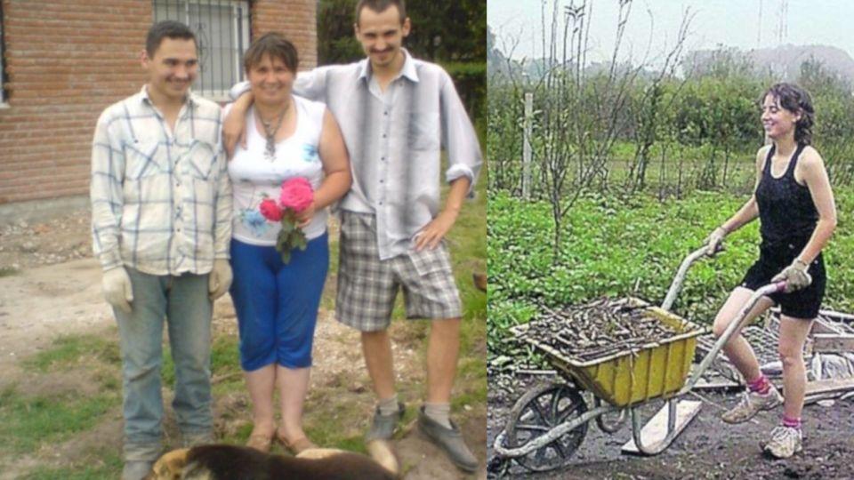 Sergei, Ludmila e Ilia en su casa de Moreno. Der.: Vera, la única hija mujer que desapareció el 6 de mayo de 2010.