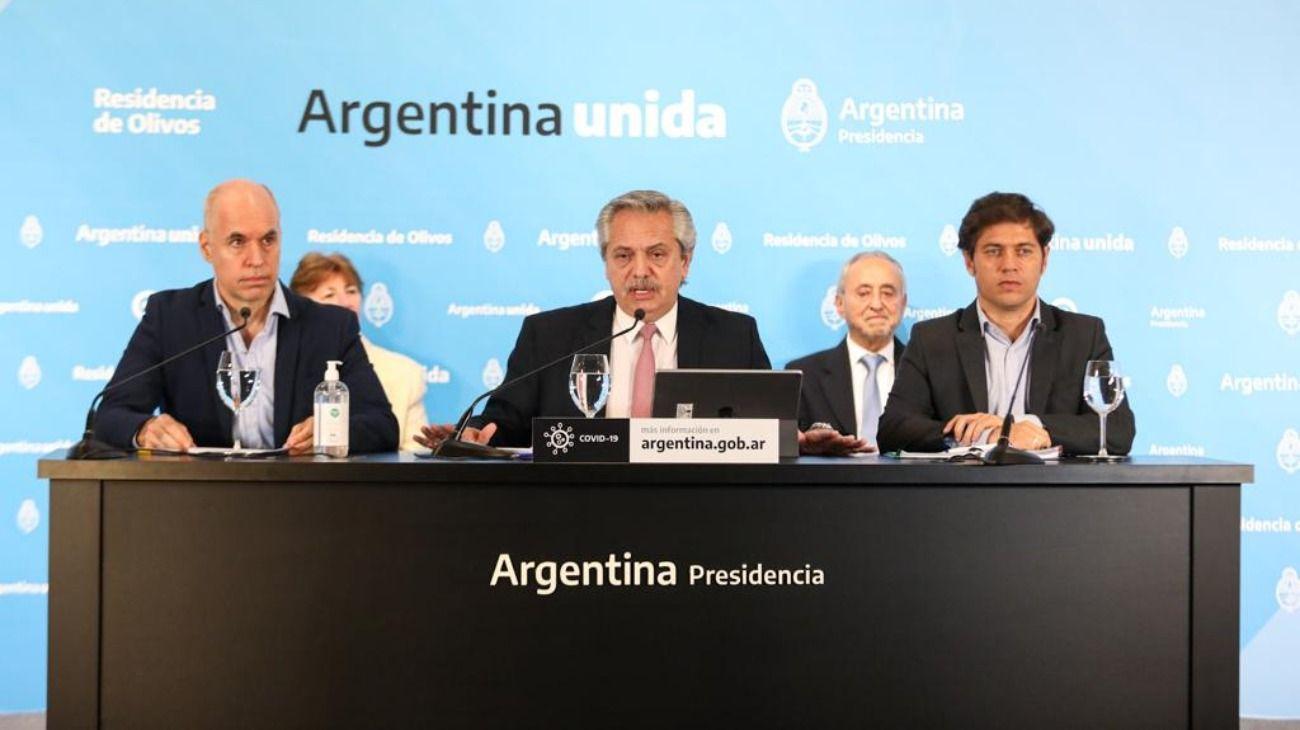 El presidente Alberto Fernández dio una conferencia de prensa acompañado por Horacio Rodríguez Larreta y Axel Kicillof.