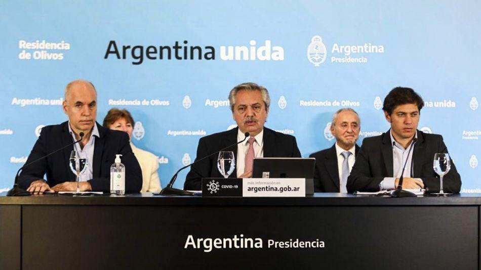 Otra vez juntos: Larreta, Fernández y Kicillof, el viernes.