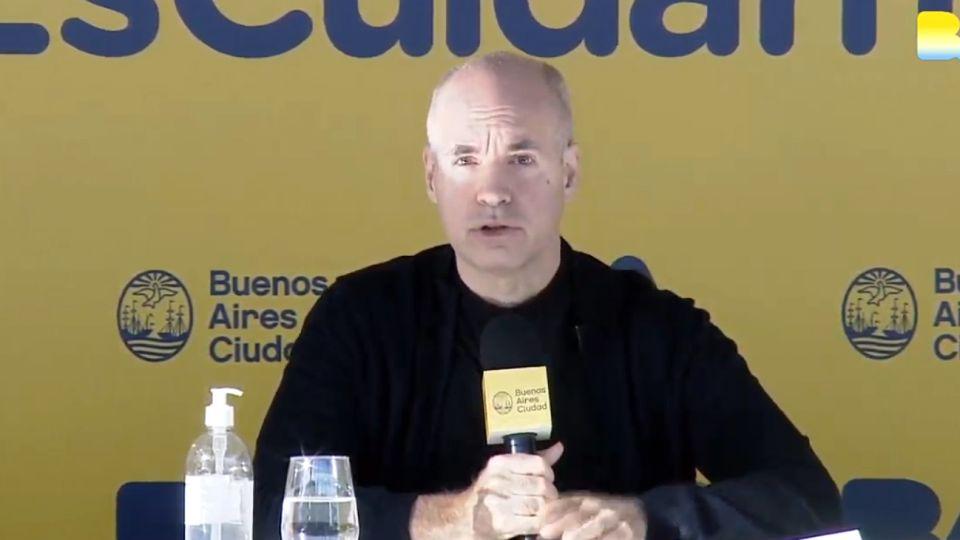 El jefe de Gobierno porteño, Horacio Rodríguez Larreta, en los anuncios de la nueva etapa de la cuarentena.