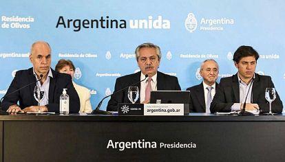 Sintonía. Kicillof, en la conferencia con Fernández y Larreta.