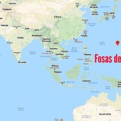 Ubicación geográfica de la fosa de las Marianas, en el Pacífico.