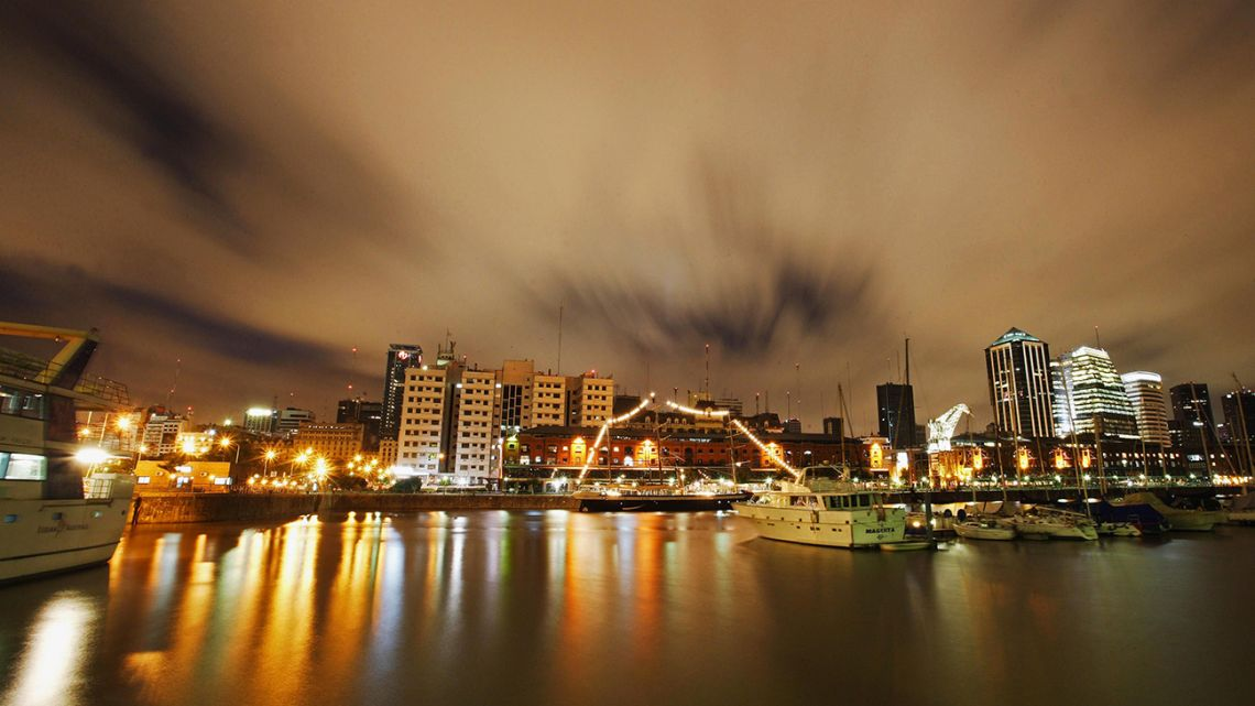 The Puerto Madero neighbourhood in Buenos Aires, pictured at night.