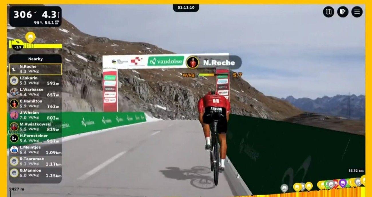 El ciclista Nicolas Roche ganó una de las etapas de la competencia Digital Swiss 5, la versión virtual del Tour de Suisse.