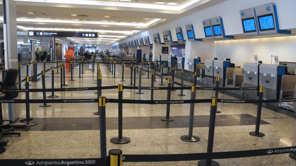 The Jorge Newbery Metropolitan Airport is empty during the general strike called by the opposition trade unions on August 28, 2020.