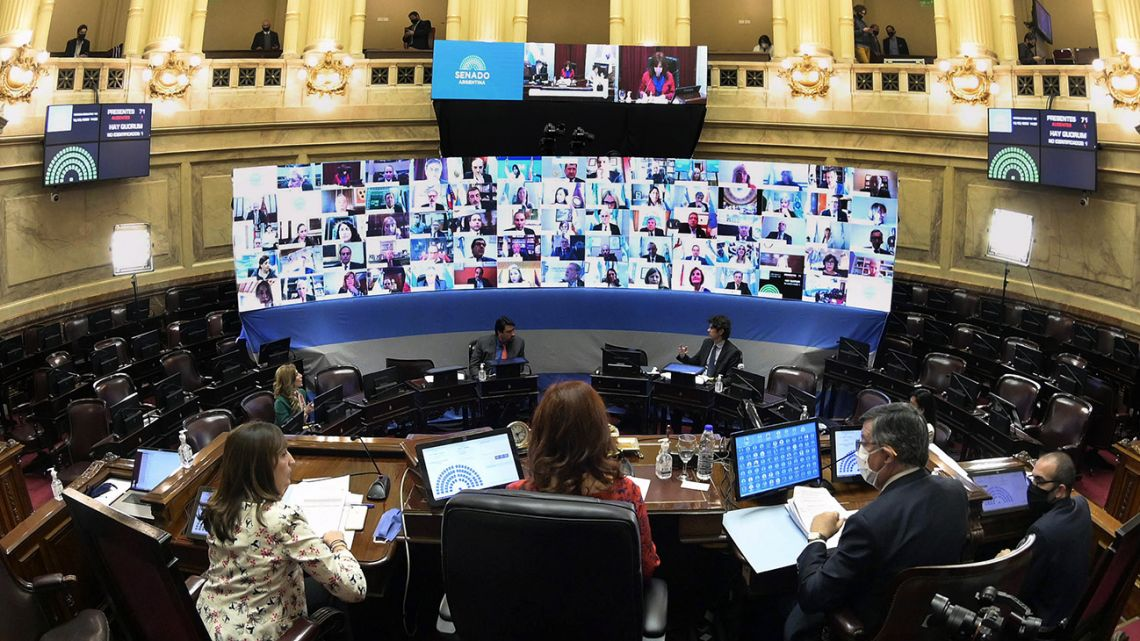 Handout photo released by Senate Press Office shows Vice-President and Senate President Cristina Fernández de Kirchner attending the first virtual session of the Senate within the lockdown against the spread of the new Covid-19 coronavirus, in Buenos Aires on May 13, 2020.