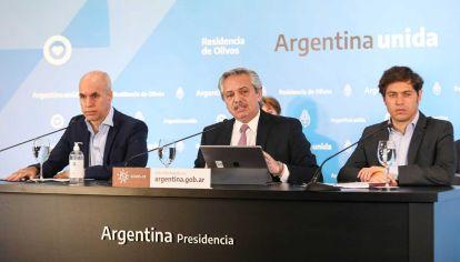 Alberto Fernández, Horacio Rodríguez Larreta y Axel Kicillof en la quinta de Olivos.