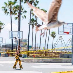 Venice Beach, California, se ve el primer día que el condado de Los Ángeles permitió la reapertura de las playas después de un cierre de seis semanas implementado para detener la propagación del coronavirus (Covid-19), el 13 de mayo de 2020. - El condado solo permite actividades como como correr, caminar, nadar y surfear con baños de sol y voleibol no permitidos. (Foto por VALERIE MACON / AFP)   Foto:AFP