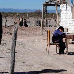 Jorge Lencinas (L) permanece cerca de sus hijos Gonzalo, de 10 años, y Morena, de 7, mientras hacen su tarea supervisados por su madre Andrea (R) en El Retamo, Departamento de Lavalle, Provincia de Mendoza, Argentina, el 7 de mayo de 2020. - Los niños de la tierra seca de Lavalle, en el norte de la provincia de Mendoza, continúan estudiando en medio de la pandemia de COVID-19, aunque la mayoría de ellos no tienen acceso a Internet. Sus maestros conducen alrededor de 400 kilómetros cada mes para entregar material educativo y bolsas de comida para ellos y sus familias. (Foto de Andres Larrovere / AFP)   Foto:AFP