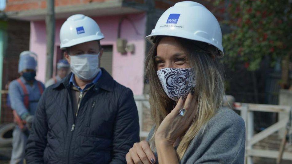 Malena Galmarini y Martín Insaurralde recorrieron obra en Ingeniero Budge-20200514