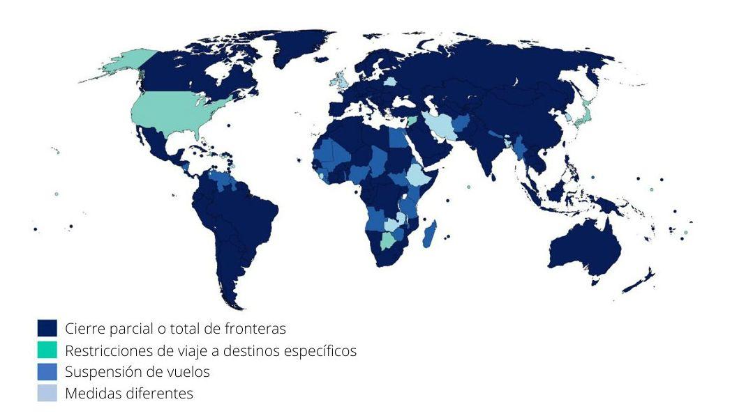 Un mundo paralizado: el 100% de los destinos mundiales sigue aplicando restricciones, según la ONU.