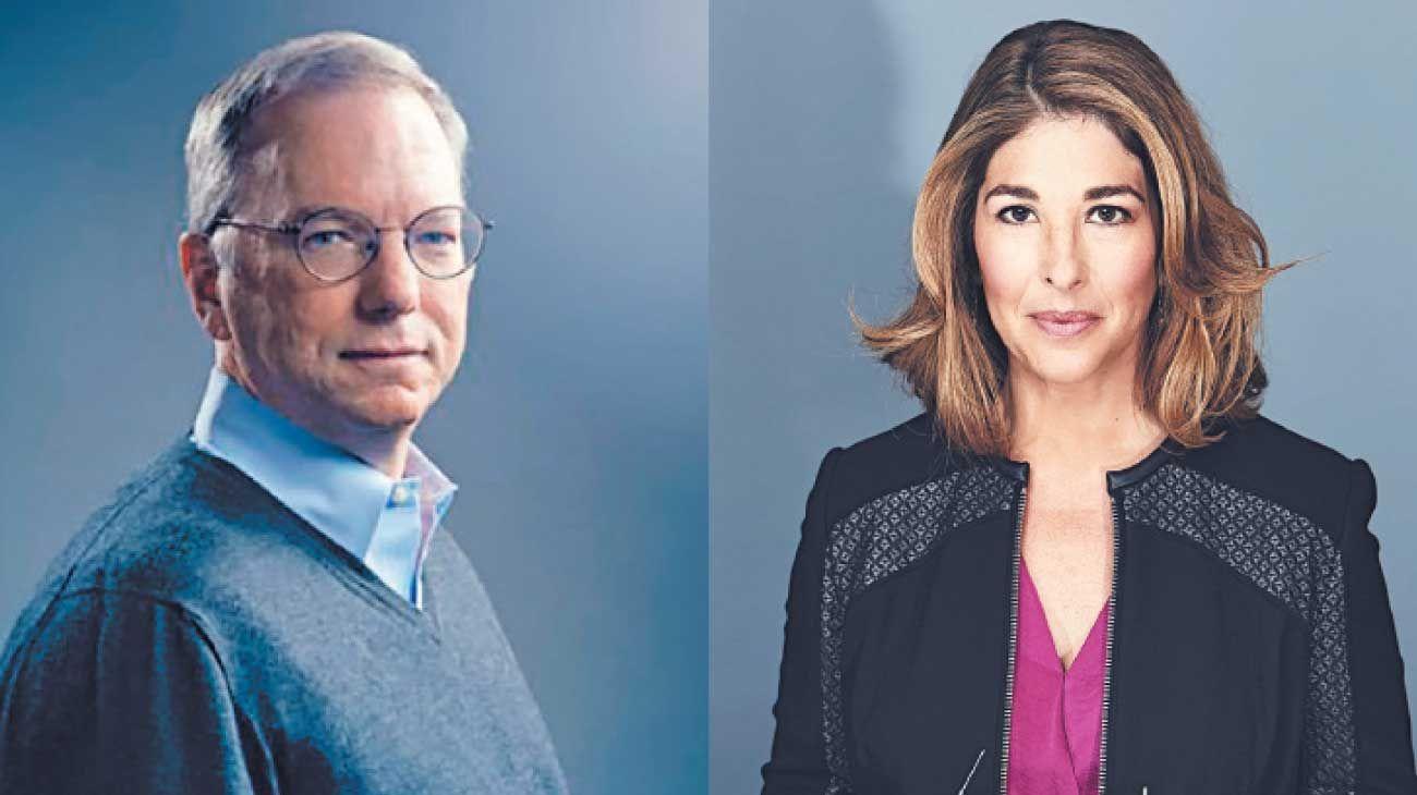 Extremos. A la izq., Eric Schmidt, accionista de Alphabet, compañía matriz de Google. A la der., la periodista canadiense Naomi Klein.