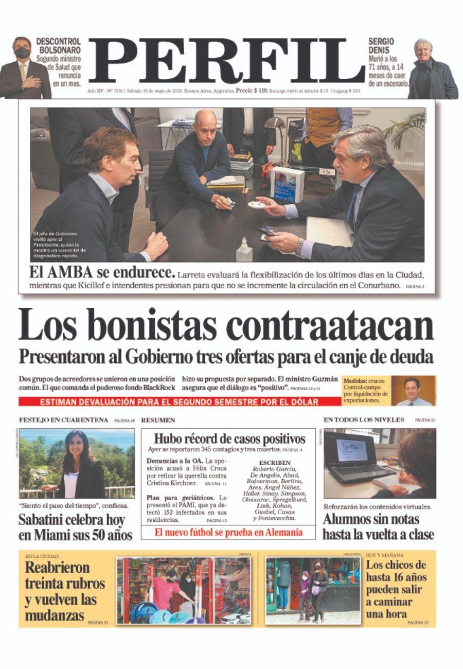 La tapa de Diario Perfil del sábado 16 de mayo de 2020.