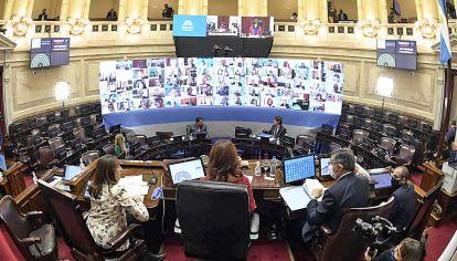Senado de la Nación en sesión virtual.