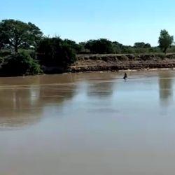 La bajante del riacho Goya es de tal magnitud, que se puede cruzar a pie.