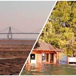 Clima imprevisto: el río Paraná; seco; Lago Puelo, inundado. Ninguno de ambos casos fue previsto a tiempo.