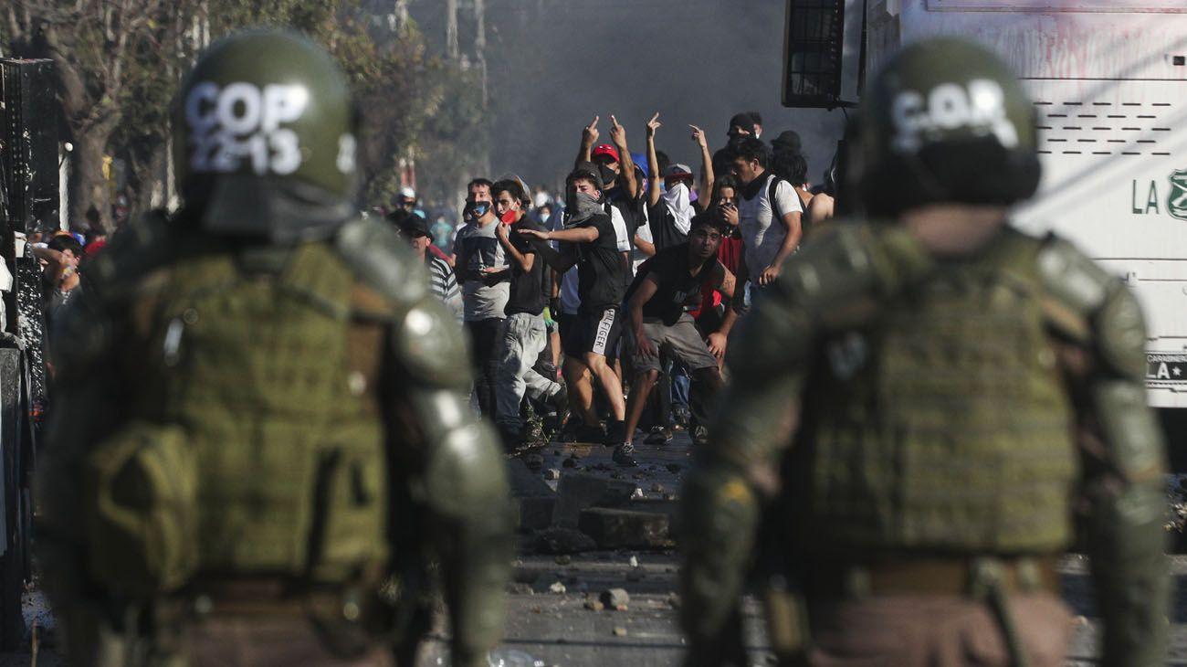 Protesta comuna el bosque en Santiago de Chile
